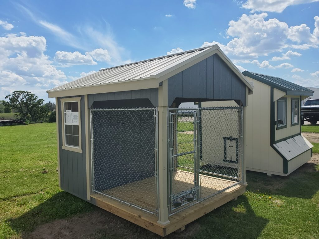8 x 10 A Frame Dog Kennel W/ a Light Stone Metal Roof